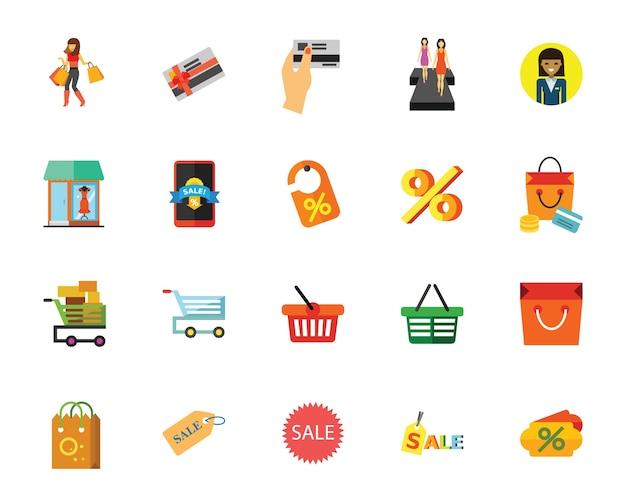 Conjunto de ícones de venda Vetor grátis