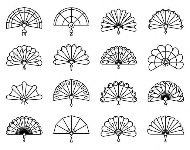 Conjunto de ícones de ventilador portátil, estilo de estrutura de tópicos Vetor Premium