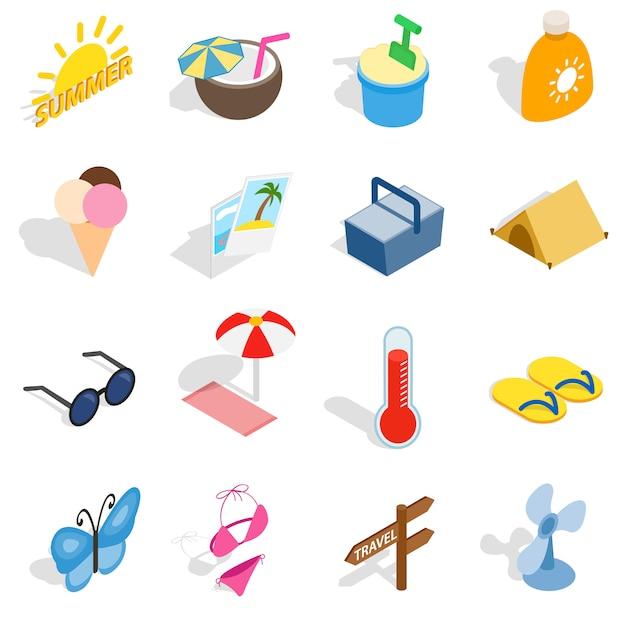 Conjunto de ícones de verão em estilo 3d isométrico isolado ilustração vetorial Vetor Premium