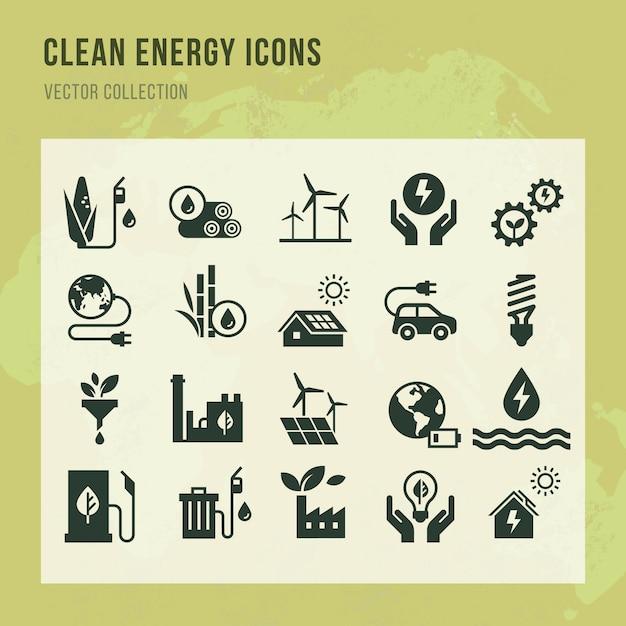 Conjunto de ícones de vetor de energia limpa em estilo simples. Vetor Premium