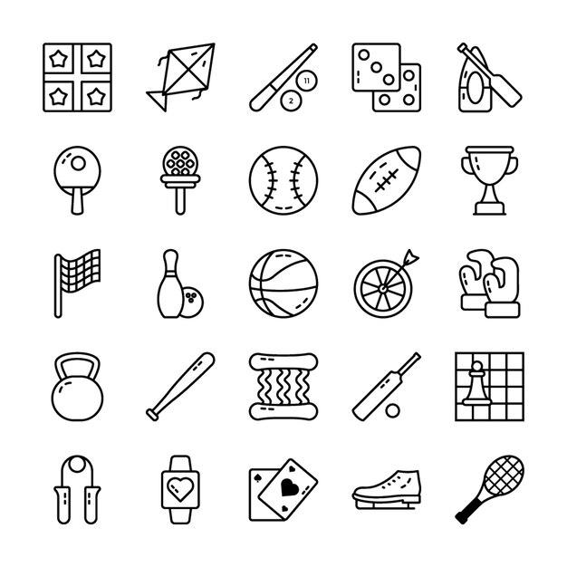 Conjunto de ícones de vetor de esportes Vetor Premium