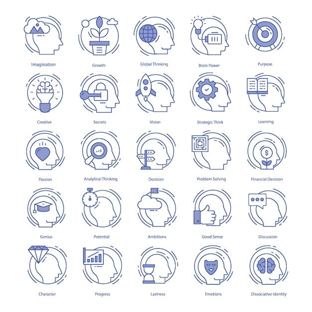 Conjunto de ícones de vetor de inteligência Vetor Premium