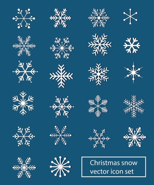 Conjunto de ícones de vetor de neve de natal Vetor Premium