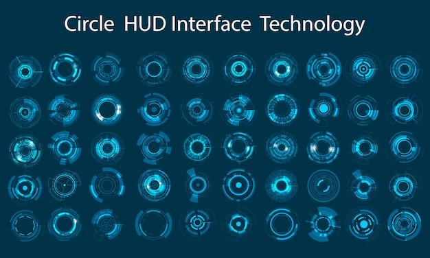 Conjunto de ícones de vetor design de círculo de tecnologia Vetor Premium