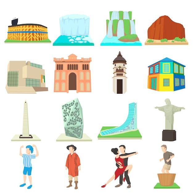 Conjunto de ícones de viagens argentina Vetor Premium