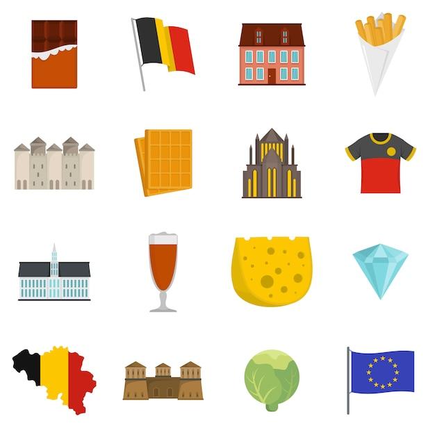 Conjunto de ícones de viagens bélgica Vetor Premium