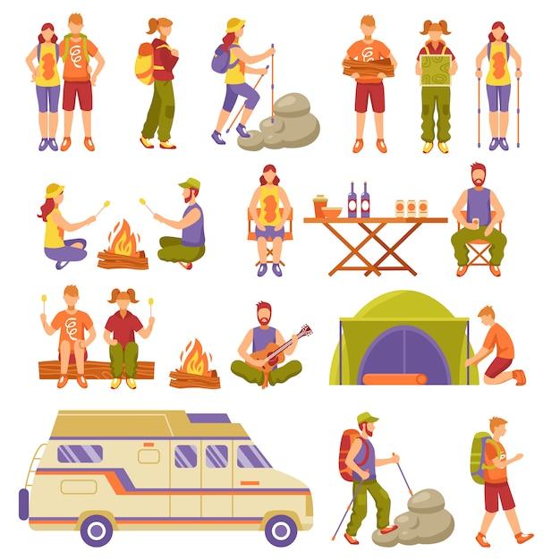 Conjunto de ícones de viagens de verão ao ar livre Vetor grátis