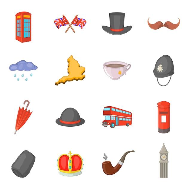 Conjunto de ícones de viagens do reino unido Vetor Premium