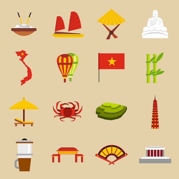 Conjunto de ícones de viagens do vietnã Vetor Premium