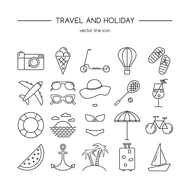Conjunto de ícones de viagens e férias. Vetor Premium