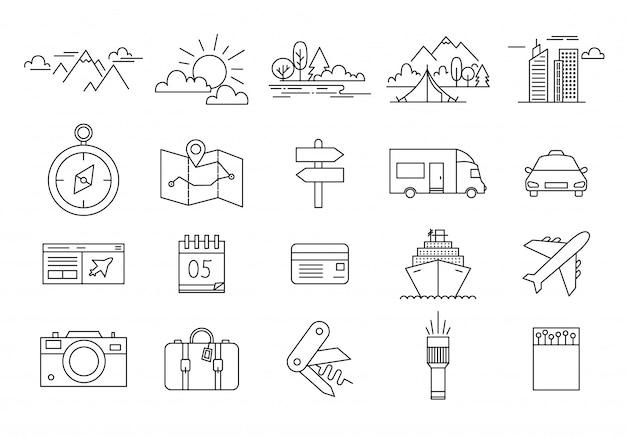 Conjunto de ícones de viagens e turismo Vetor Premium