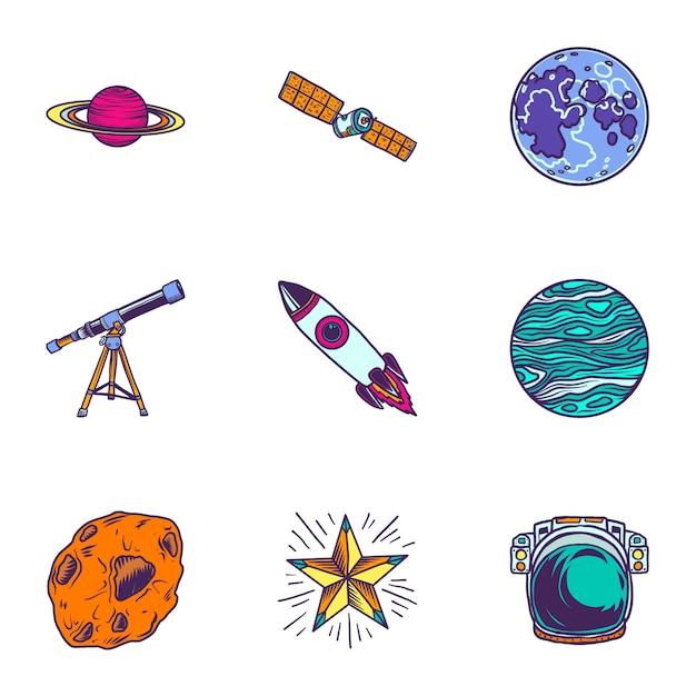 Conjunto de ícones de viagens espaciais. conjunto de mão desenhada de 9 ícones de viagens espaciais Vetor Premium