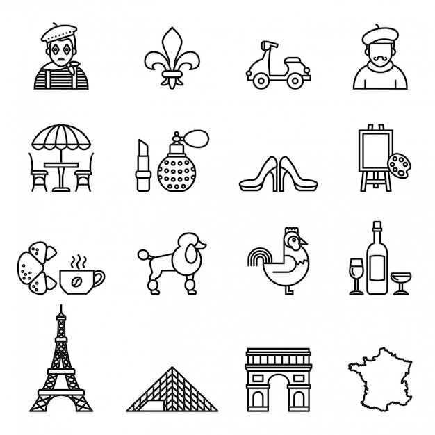 Conjunto de ícones de viagens frança. vetor de estoque de estilo de linha. Vetor Premium