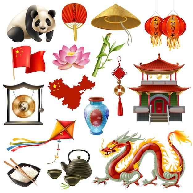 Conjunto de ícones de viagens na china Vetor grátis