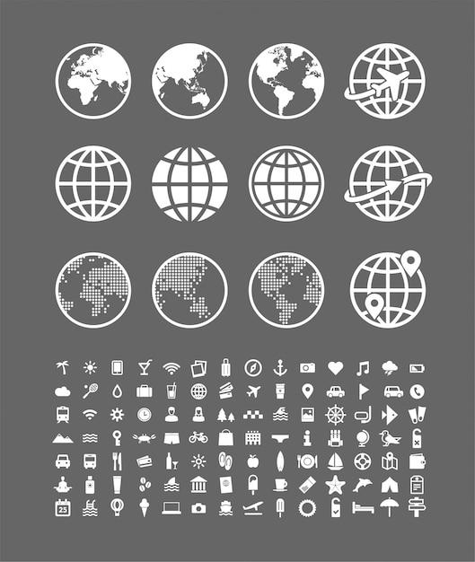 Conjunto de ícones de viagens. o vetor abstrato do globo do mundo assina a coleção. símbolos de viagem e férias Vetor Premium