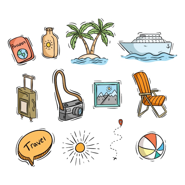 Conjunto de ícones de viagens ou verão com estilo mão desenhada Vetor Premium