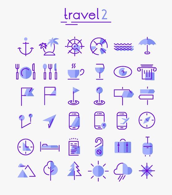 Conjunto de ícones de viagens, turismo e clima Vetor Premium