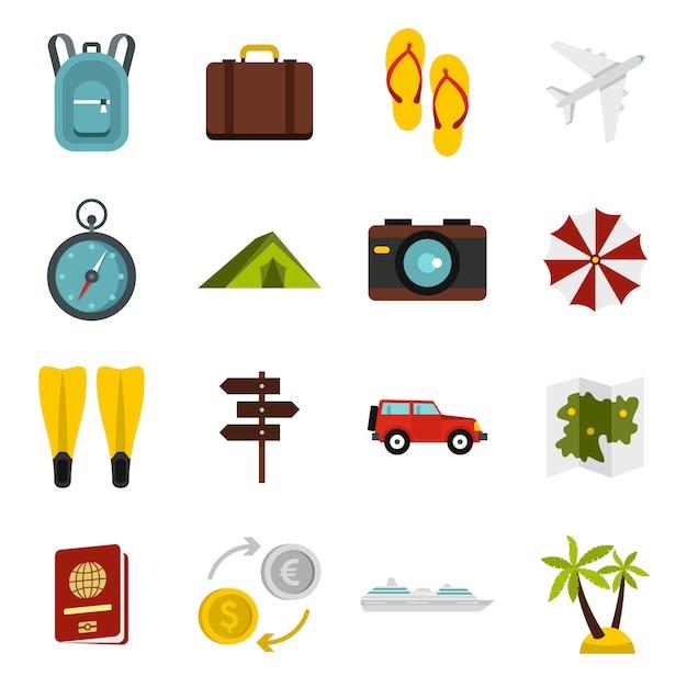 Conjunto de ícones de viagens Vetor Premium