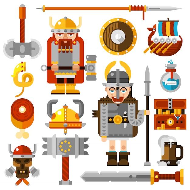 Conjunto de ícones de vikings Vetor grátis