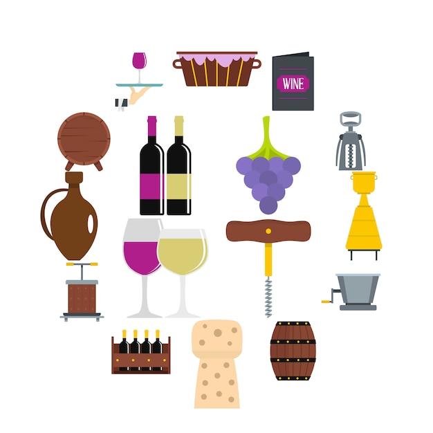 Conjunto de ícones de vinho em estilo simples Vetor Premium
