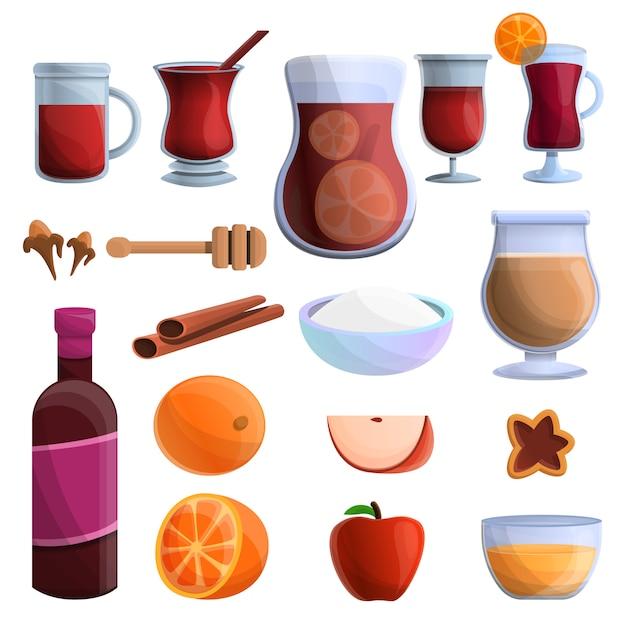 Conjunto de ícones de vinho quente, estilo cartoon Vetor Premium