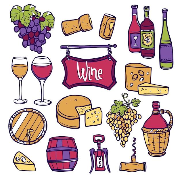 Conjunto de ícones de vinho Vetor grátis