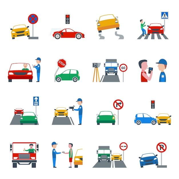 Conjunto de ícones de violação de tráfego Vetor grátis