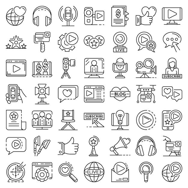 Conjunto de ícones de vlog. conjunto de tópicos de ícones do vetor de vlog Vetor Premium