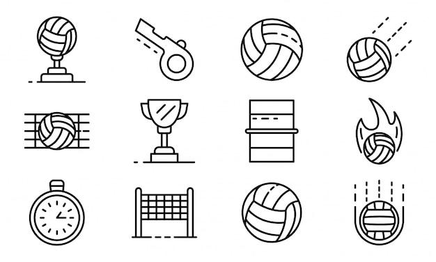 Conjunto de ícones de voleibol, estilo de estrutura de tópicos Vetor Premium