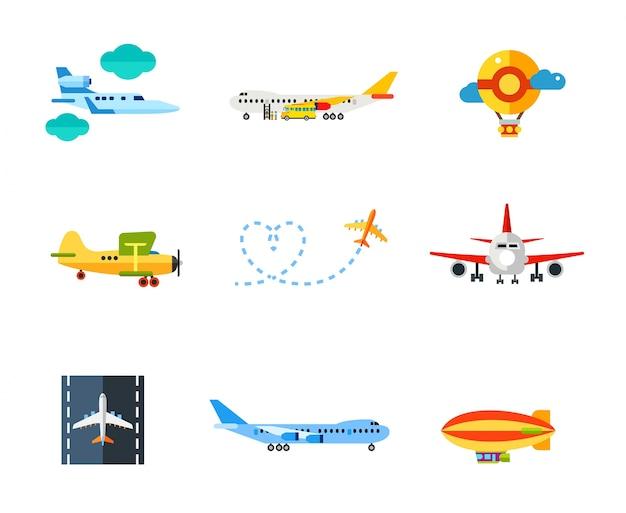 Conjunto de ícones de vôo Vetor grátis