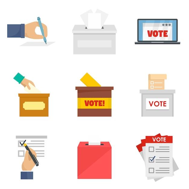 Conjunto de ícones de votação de urna votação Vetor Premium