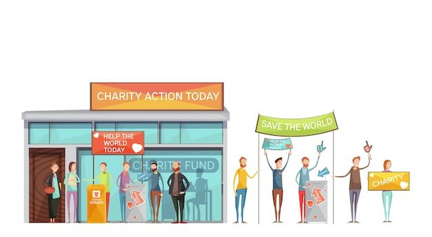 Conjunto de ícones decorativos de caridade de pessoas com cartazes participando de reuniões e eventos Vetor grátis