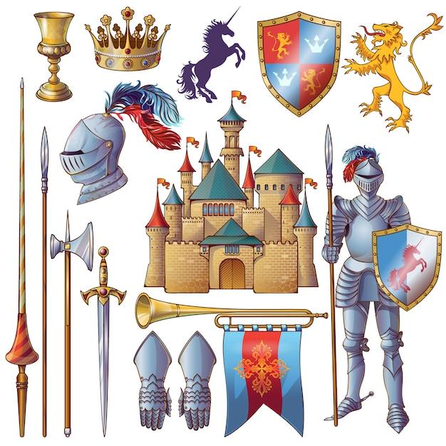 Conjunto de ícones decorativos de cavaleiro Vetor grátis
