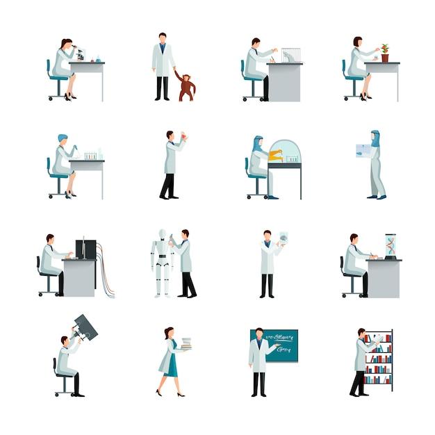 Conjunto de ícones decorativos de cientista Vetor grátis