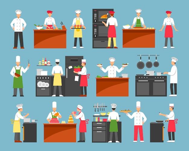 Conjunto de ícones decorativos de cozinha profissional Vetor grátis