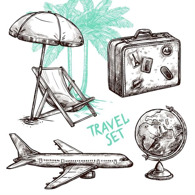 Conjunto de ícones decorativos de esboço de viagens Vetor grátis