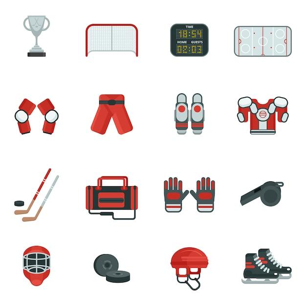 Conjunto de ícones decorativos de hóquei Vetor grátis