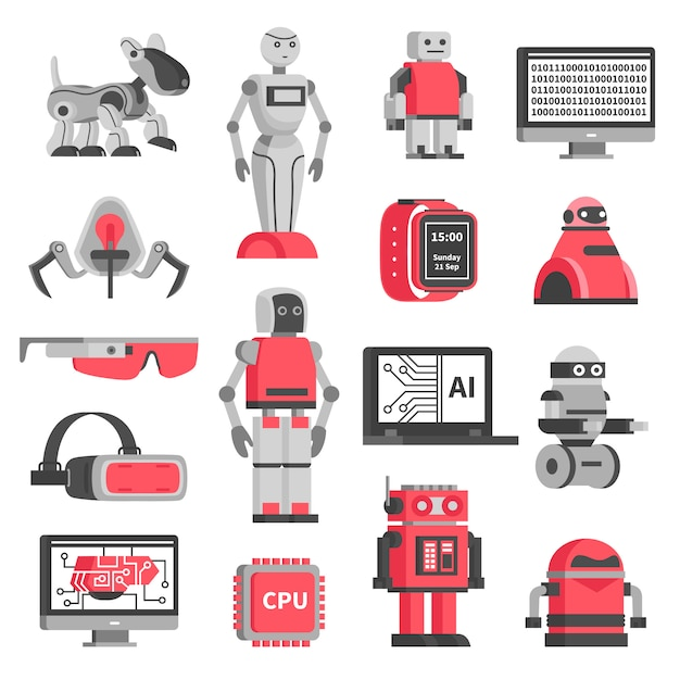 Conjunto de ícones decorativos de inteligência artificial Vetor grátis