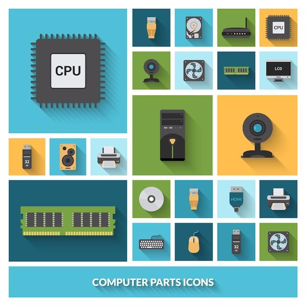 Conjunto de ícones decorativos de peças de computador Vetor grátis