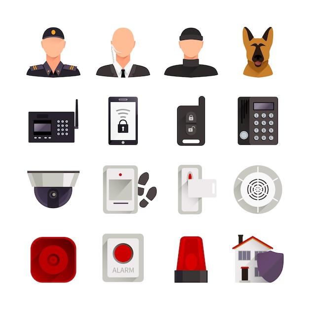 Conjunto de ícones decorativos liso de segurança home com câmera de vídeo de cão de guarda e sistemas eletrônicos digitais para proteção de casa isolada ilustração vetorial Vetor grátis