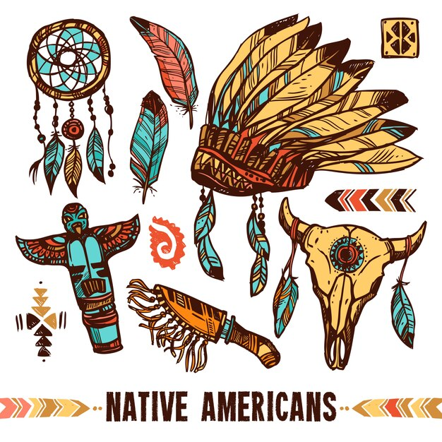 Conjunto de ícones decorativos nativos americanos Vetor grátis