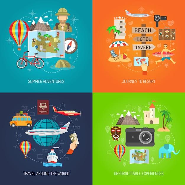Conjunto de ícones decorativos plana viagens Vetor grátis