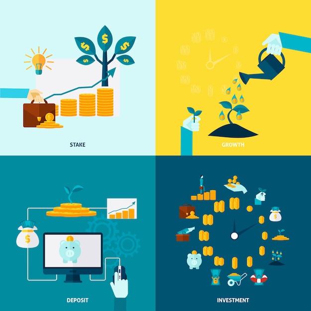 Conjunto de ícones decorativos plano de investimento Vetor grátis
