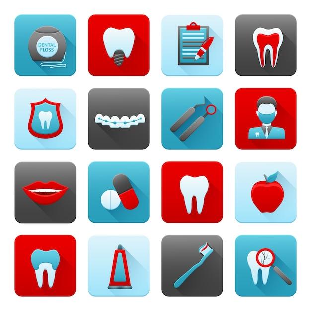 Conjunto de ícones dentários Vetor grátis