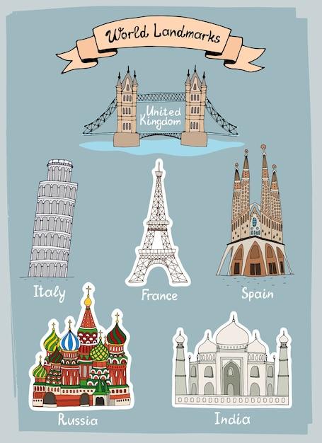 Conjunto de ícones desenhados à mão de marcos do mundo Vetor grátis