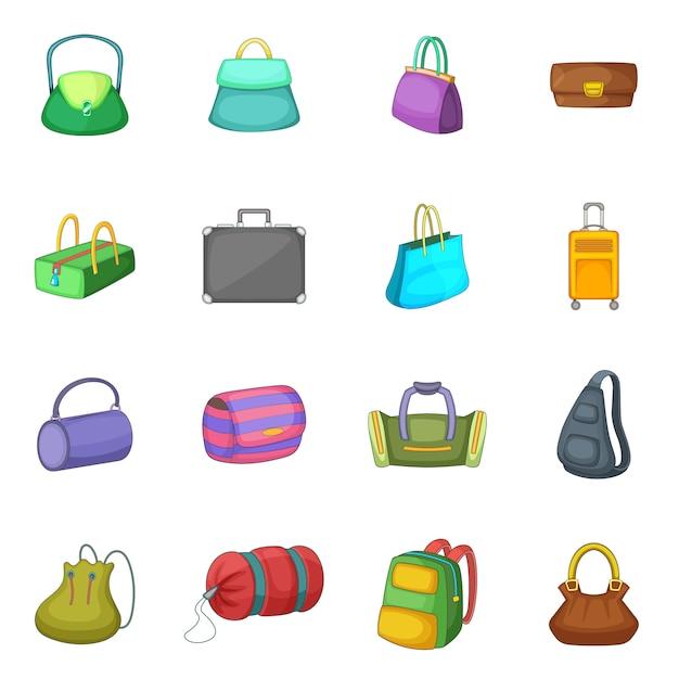 Conjunto de ícones diferentes bagage Vetor Premium