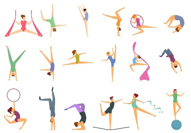 Conjunto de ícones do acrobat, estilo desenho animado Vetor Premium
