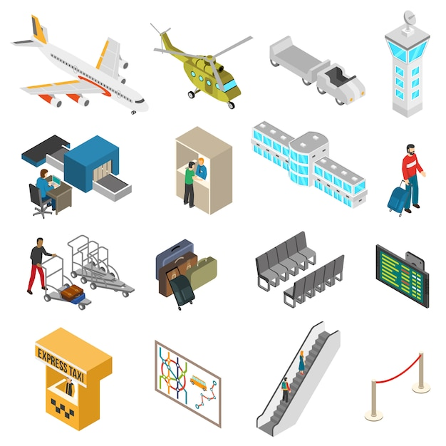Conjunto de ícones do aeroporto Vetor grátis