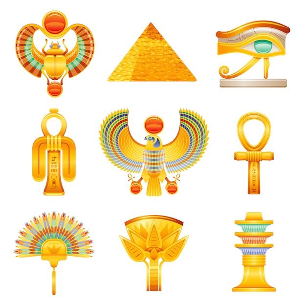 Conjunto de ícones do antigo egito. símbolos de vetor do faraó egípcio. ra sun escaravelho, pirâmide, olho de horus, olho de isis tyet, falcão, ankh, leque, flor de lótus, pilar de osíris djed. Vetor Premium