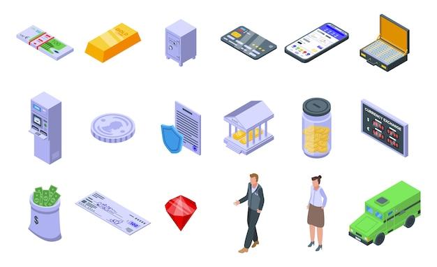 Conjunto de ícones do banco. conjunto isométrico de ícones de banco para web isolado no fundo branco Vetor Premium